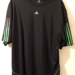 Adidas Mens black and green polyester top